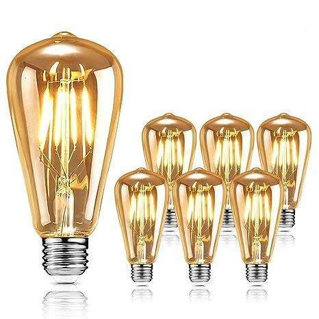 Edison Bombilla de luz vintage, Edison, lámpara LED retro, bombilla vintage antigua,