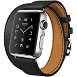 Apple Watch Band, iBazal 42mm [Dual Loop] Leather Band Genuine Leather Replacement Band for Apple Watch Series 1 & Series 2 - Black 42mm