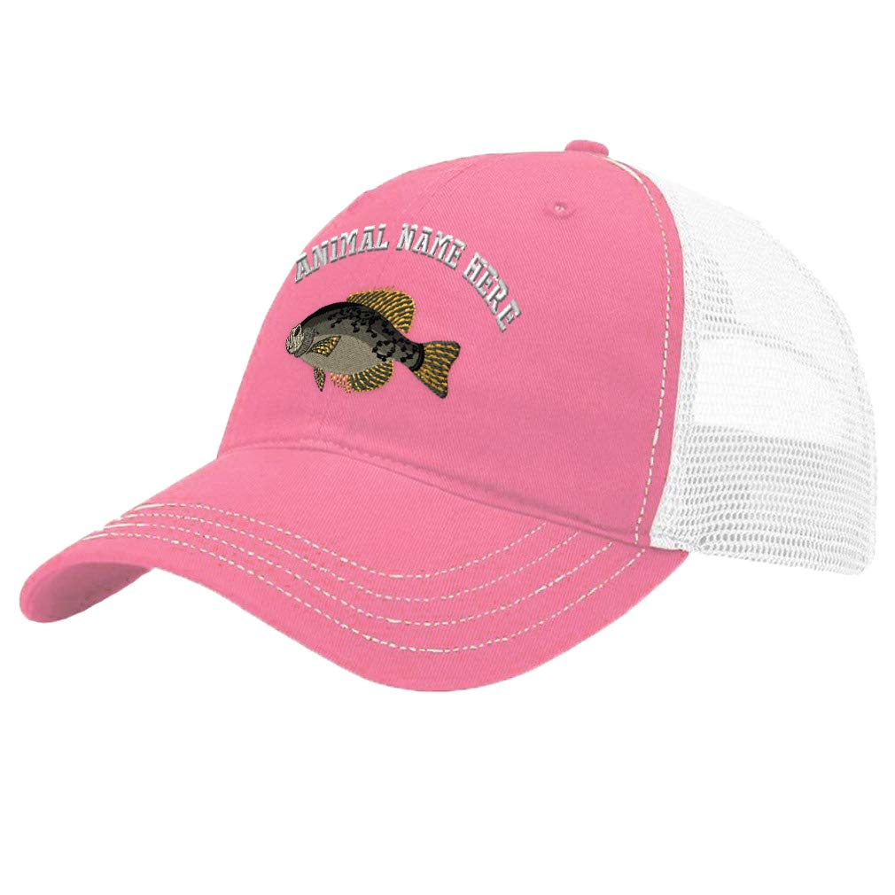Custom Trucker Hat Richardson Black Crappie Embroidery Animal Name Cotton Snaps