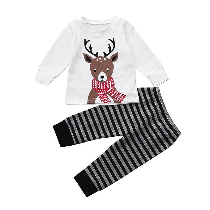 Camisas y Pantalones Bebe Navidad Pijamas Enteros de Invierno para Niño y Niña por ESAILQ F