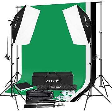 CRAPHY Photo Studio Umbrella Lighting Kit 1250W 5500K Photography Daylight Umbrella with Muslin Backdrop Kits 9x6FT White Black Green 10x6.5FT ,Background Stand Kit