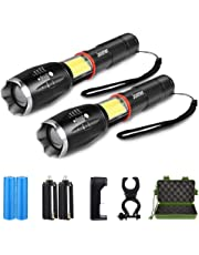 2 Pack Super Bright Tactical Flashlight Zoomable 6 Modes Waterproof Magnetic Base LED Flashlight with COB Working Light, 18650 Rechargeable Battery & Charger & Bicycle Mount for Camping Hiking