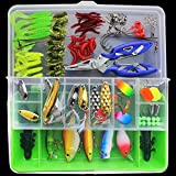 Isafish 101 pcs Fishing Lure Kit Combo Including Fish Hooks, Hard/Soft Bait And Other Saltwater Freshwater Lures for Fishing With Tackle Box Green