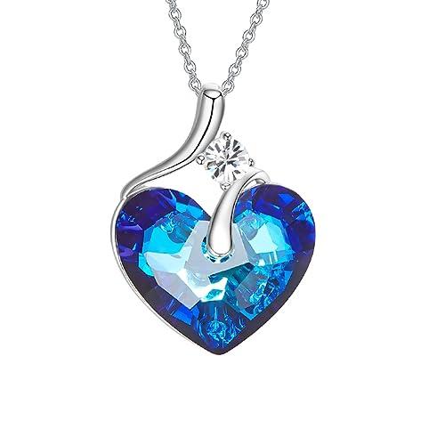 ad6af3f98d08 YOURDORA Mujer Azul Cristal Swarovski Colgante de Corazon del Océano Collar  del Titanic Joyas de Moda Regalo  Amazon.es  Joyería