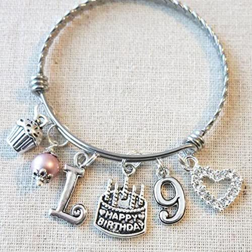 9th BIRTHDAY GIRL Birthday Charm Bracelet 9 Year Old Daughter Gift