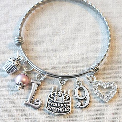 Image Unavailable Not Available For Color 9th BIRTHDAY GIRL Birthday Charm Bracelet 9 Year Old Daughter Gift Idea