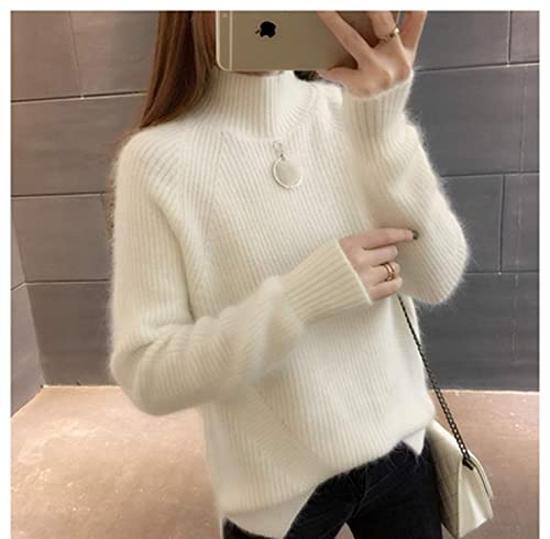 Autumn Winter Thick Women Sweaters Korean Loose Turtleneck Solid Pul Side Split Knitwear Chaquetas Invierno Mujer
