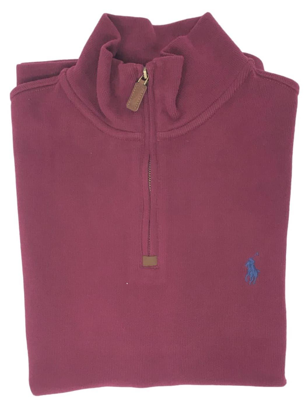 Polo Ralph Lauren Men's Half Zip French Rib Cotton Sweater (ManarchRed, XL)
