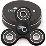 Tri Spinner Fidget Toy for ADHD by Phoenix Spinners - Stress and Anxiety Relief - EDC Office Toy, Super Fast Long Spins - Premium Stainless Steel R188 Center Bearing, Injection Molded (Non-3D) - Black