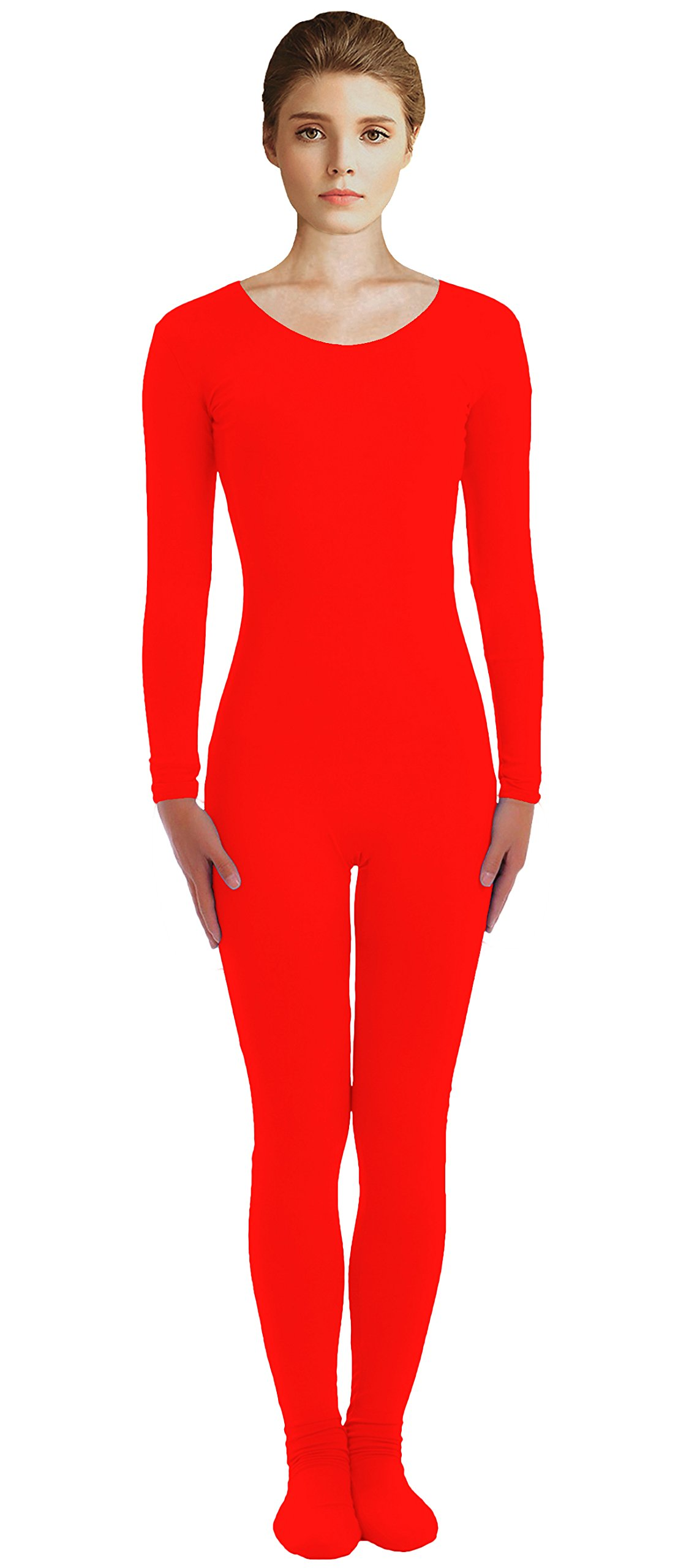 VSVO Adult Red Scoop Neckline Unitard with Socks Catsuit Dancewear (Large, Red) by VSVO