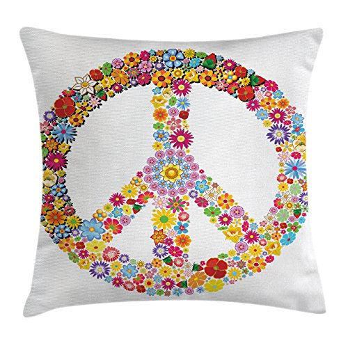 Happiness Collection Peace Sign - Ambesonne Modern Decor Throw Pillow Cushion Cover, Floral Peace Sign Summer Spring Blooms Love Happiness Themed Illustration Print, Decorative Square Accent Pillow Case, 18 X 18 Inches, Multi