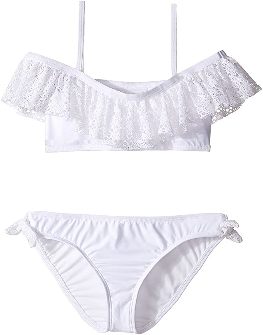 10 Ella Moss Big Lover Off Ruffle Top and Tie Hipster Girls Swimsuit Set White