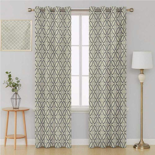 Benmo House Geometric grummet Curtain Room Divider Curtain Screen Partitions,Bicolor Overlapping Circles Grid Pattern Geometric Inspirations Vintage Design Curtain Panels 84 by 84 Inch Beige -