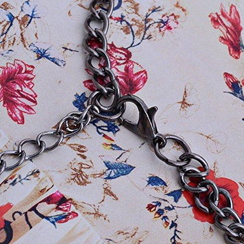 Lureme style classique chaîne de couleur bronze pendentifs de couleur rose en forme de fleur avec cristal collier pour les filles et les femmes (01001221-4)