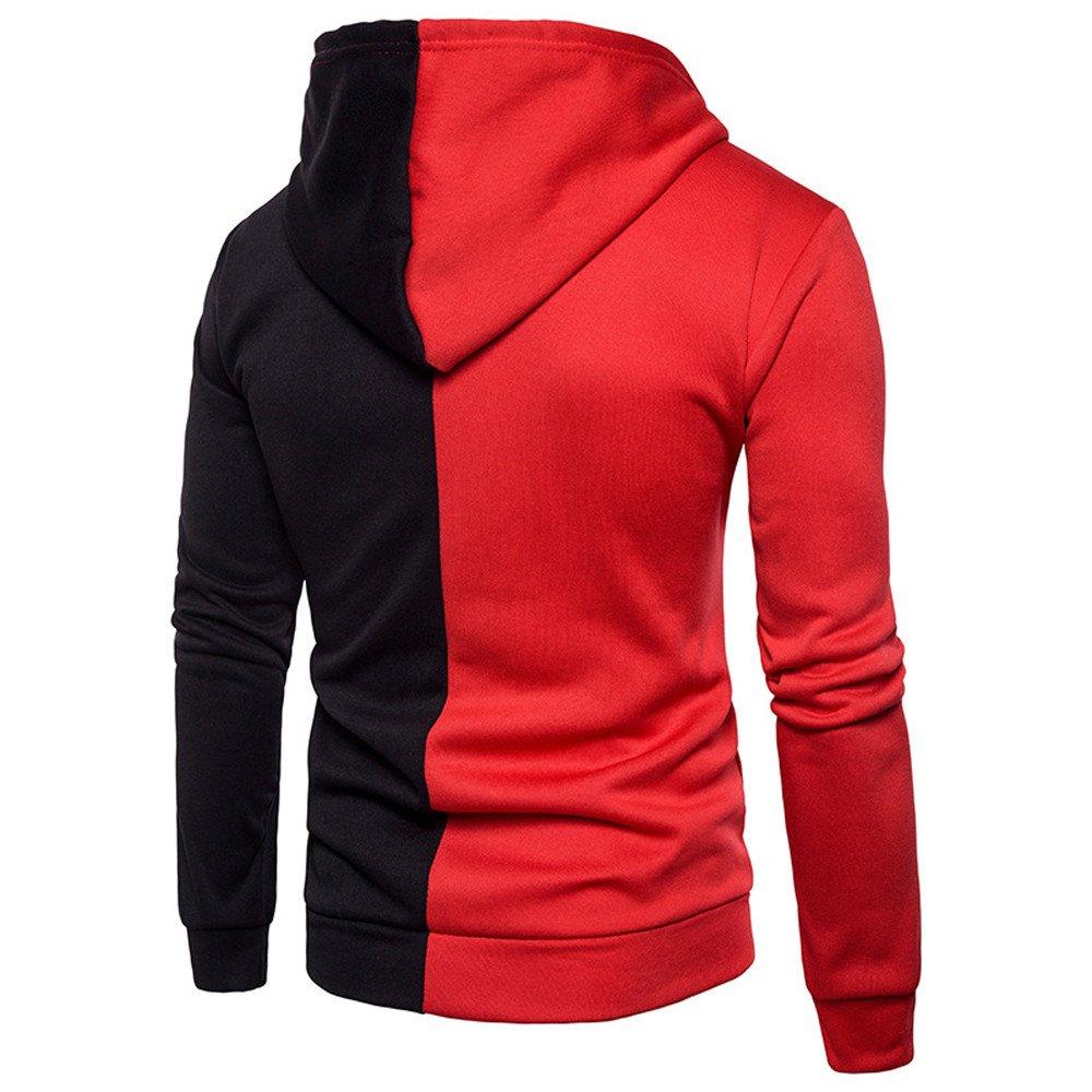 UONQD Men Long Sleeve Hoodie Stitching Zipper Coat Jacket Outwear Sport Tops (Medium,Red) by UONQD (Image #2)