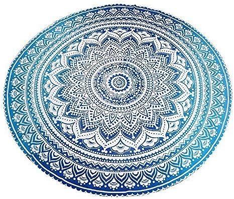 Jaipurhandloom Indio Mandala Redondo Roundie Beach Tiro Glorafilia Hippy Hippie Gypsy algodón Mantel Toalla de Playa, Redondo Esterilla de Yoga: Amazon.es: Hogar