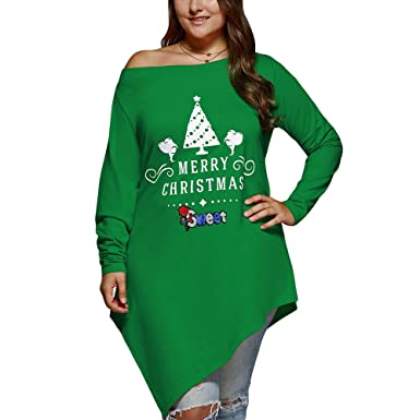 26ed341f22fb9 CharMma Women s Plus Size Merry Christmas Print Skew Neck Asymmetrical T- Shirt (Green