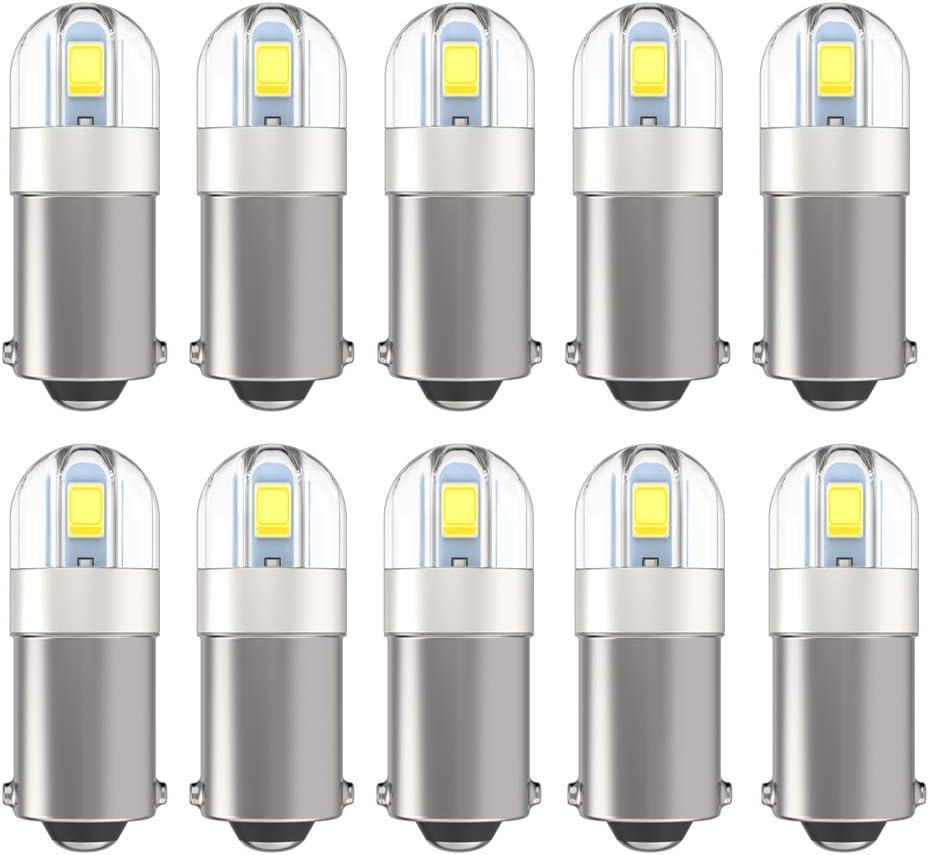 BA9S 1895 53 57 Led Bulb 2SMD 3030Chips 6000K White 293 BA9 64111 1891 LED Bulb for Car Interior Dome Map License Plate Light, Pack of 10pcs