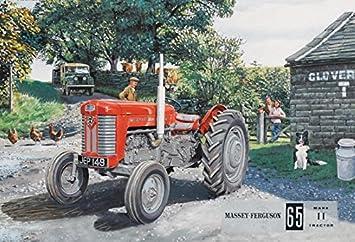 Schatzmix Tesoro Mix Massey Ferguson 65 Rojo Am Granja Tractor schlepper Metal Sign Deko Sign Jardín