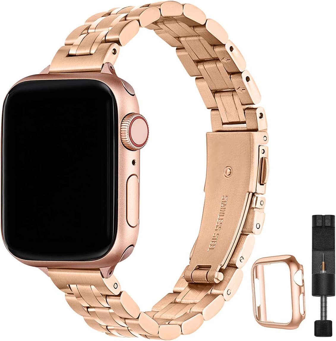 STIROLL Thin Replacement Band Compatible for Apple Watch 42mm 44mm, Stainless Steel Metal Wristband Women Men for iWatch SE Series 6/5/4/3/2/1 (Rose Gold, 42mm/44mm)