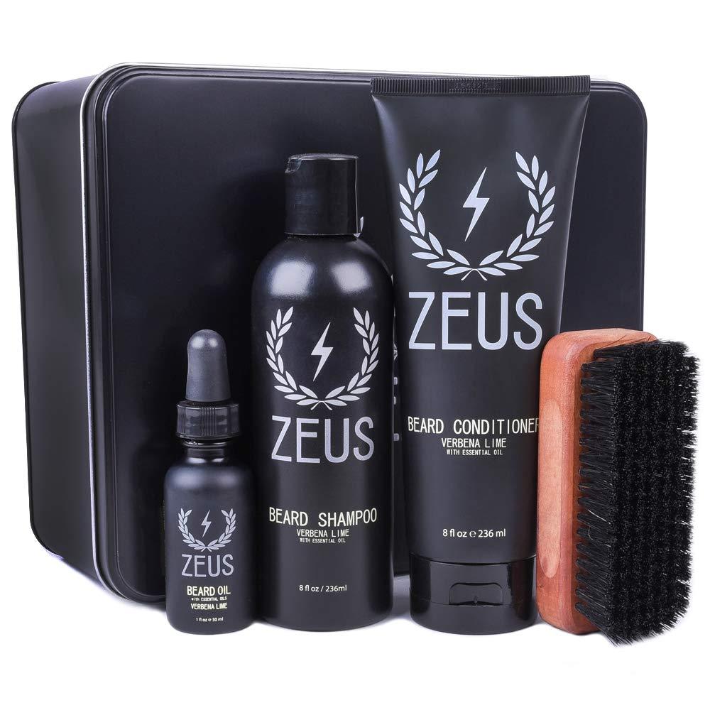 ZEUS Deluxe Beard Grooming Kit for Men, Verbena Lime