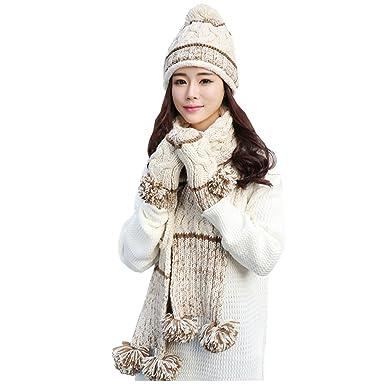 3 Pcs Winter Warm Women Girl Knitted Wool Hat Scarf Gloves Set (Beige 6e462f3f21b