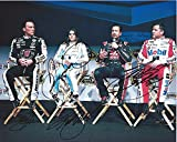 4X AUTOGRAPHED Tony Stewart / Kevin Harvick / Danica Patrick / Kurt Busch 2016 Charlotte Motor Speedway MEDIA PRESS CONFERENCE (Stewart-Haas Team Mates) Signed 8X10 Group NASCAR Glossy Photo with COA