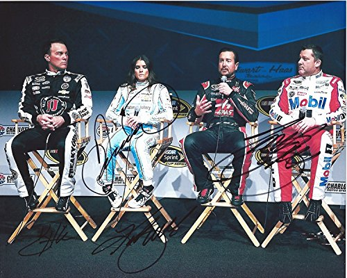 4X AUTOGRAPHED Tony Stewart/Kevin Harvick/Danica Patrick/Kurt Busch 2016 Charlotte Motor Speedway MEDIA PRESS CONFERENCE (Stewart-Haas Team Mates) Signed 8X10 Group NASCAR Glossy Photo with COA (Danica Patrick Photograph)