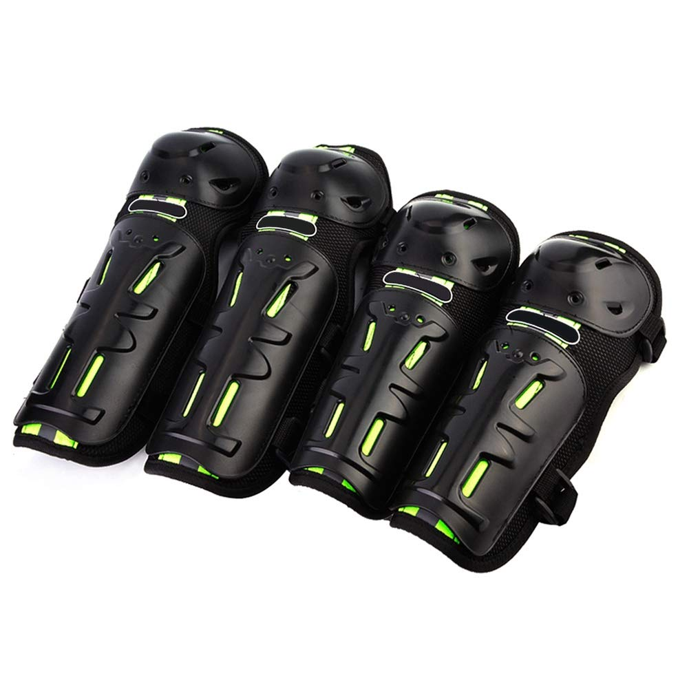 Hlyjoon 4Pcs Motorcycle Elbow Knee Pads Black+Green Grid Fabric+ABS Moto Protective Gear Kneepad Guard Pad Anti-Fall Motocross Brace Knees Shin Guards Armor Set for Motobike Cycling Racing Dirt Bike