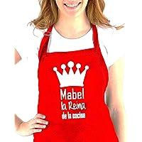 """Didart Handmade Delantal cocina personalizado hombre mujer con la frase:"""" (nombre) el Rey de la cocina, (nombre) la…"""