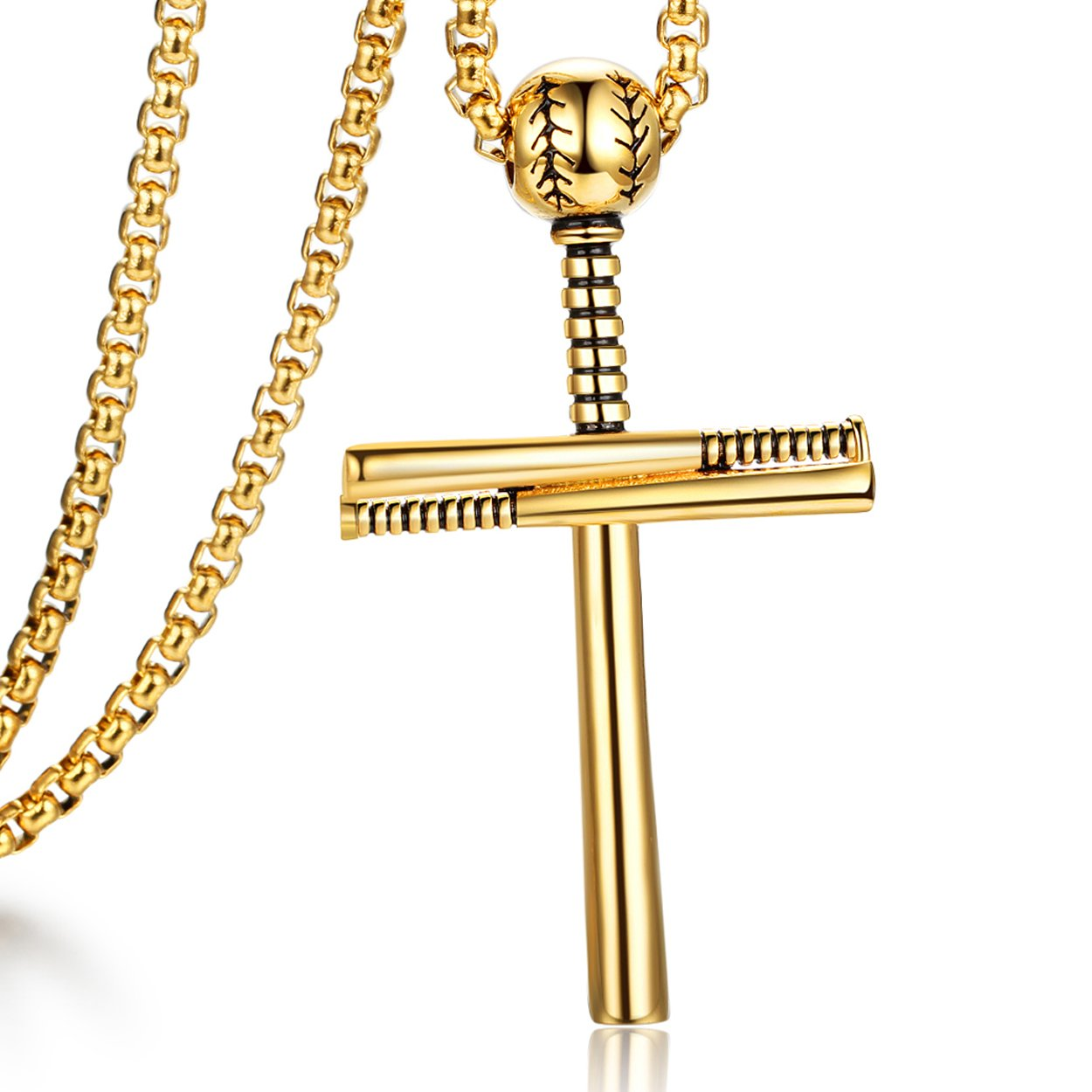 ADoor Black Baseball Bat Stainless Steel Cross Pendant Necklace for Boy Men with 20+2'' Adjustable Chain