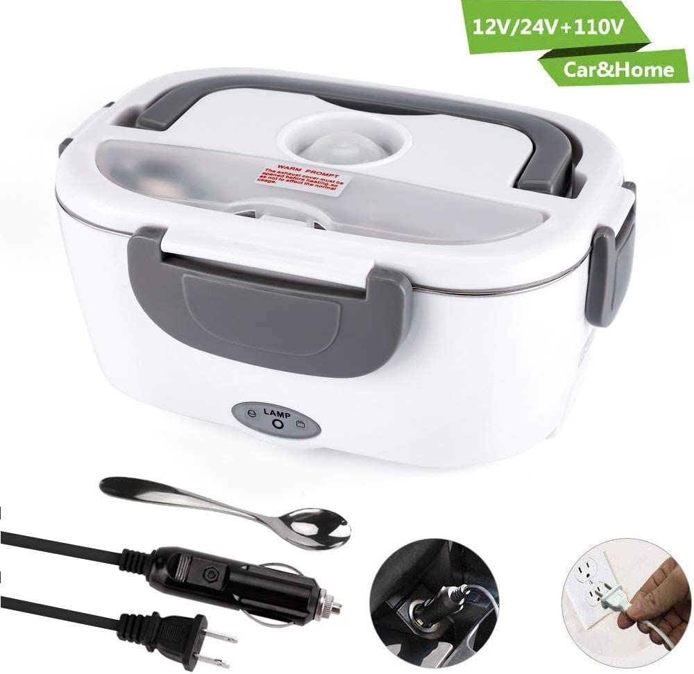 Electric Lunch Box for Car and Home 110V & 12V 40W, Stainless Steel Portable Food Warmer Heater 1.5L, Stainless Steel Spoon and 2 Compartments Included
