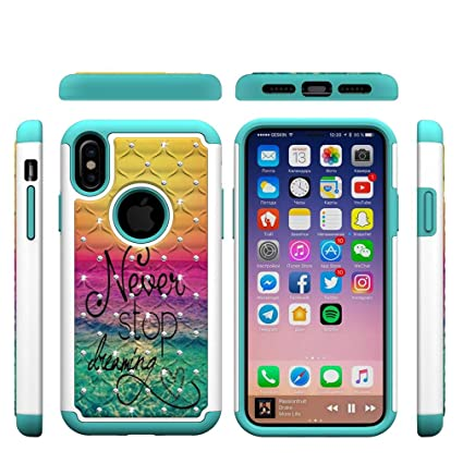 iPhone X Case,Smooth Hard PC Back Cover with Creative Pattern & Point Drill 2