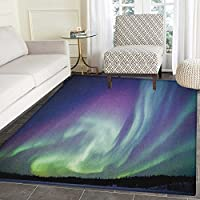 Aurora Borealis Rug Kid Carpet Exquisite Atmosphere Solar Starry Sky Calming Night Image Home Decor Foor Carpe 4x6 Mint Green Dark Blue Violet