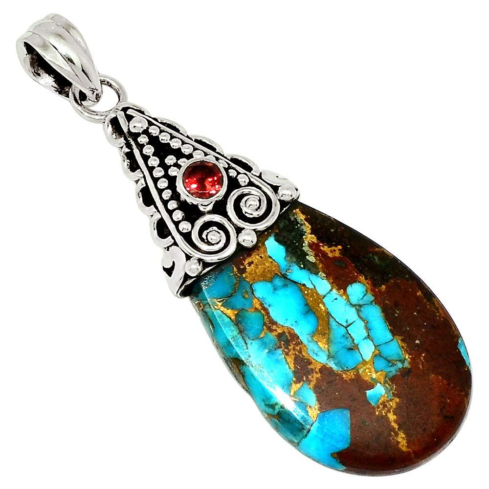 Xtremegems Basalt Turquoise Arizona /& Garnet 925 Sterling Silver Pendant Jewelry 1 7//8 30663P
