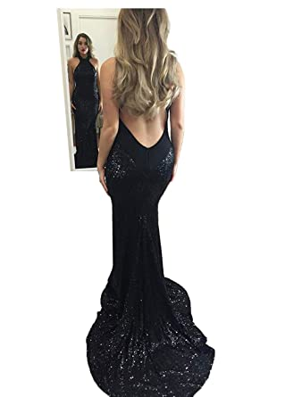 DYS Womens Halter Mermaid Prom Dress Open Back Sequins Evening Gowns (2, Black)
