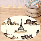 Kisscase Custom carpetAncient European Landmark Traveller Tourist Cities Italy France Spain Sketchy Image for Bedroom Living Room Dorm Brown and Cream