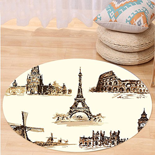 Kisscase Custom carpetAncient European Landmark Traveller Tourist Cities Italy France Spain Sketchy Image for Bedroom Living Room Dorm Brown and Cream by kisscase