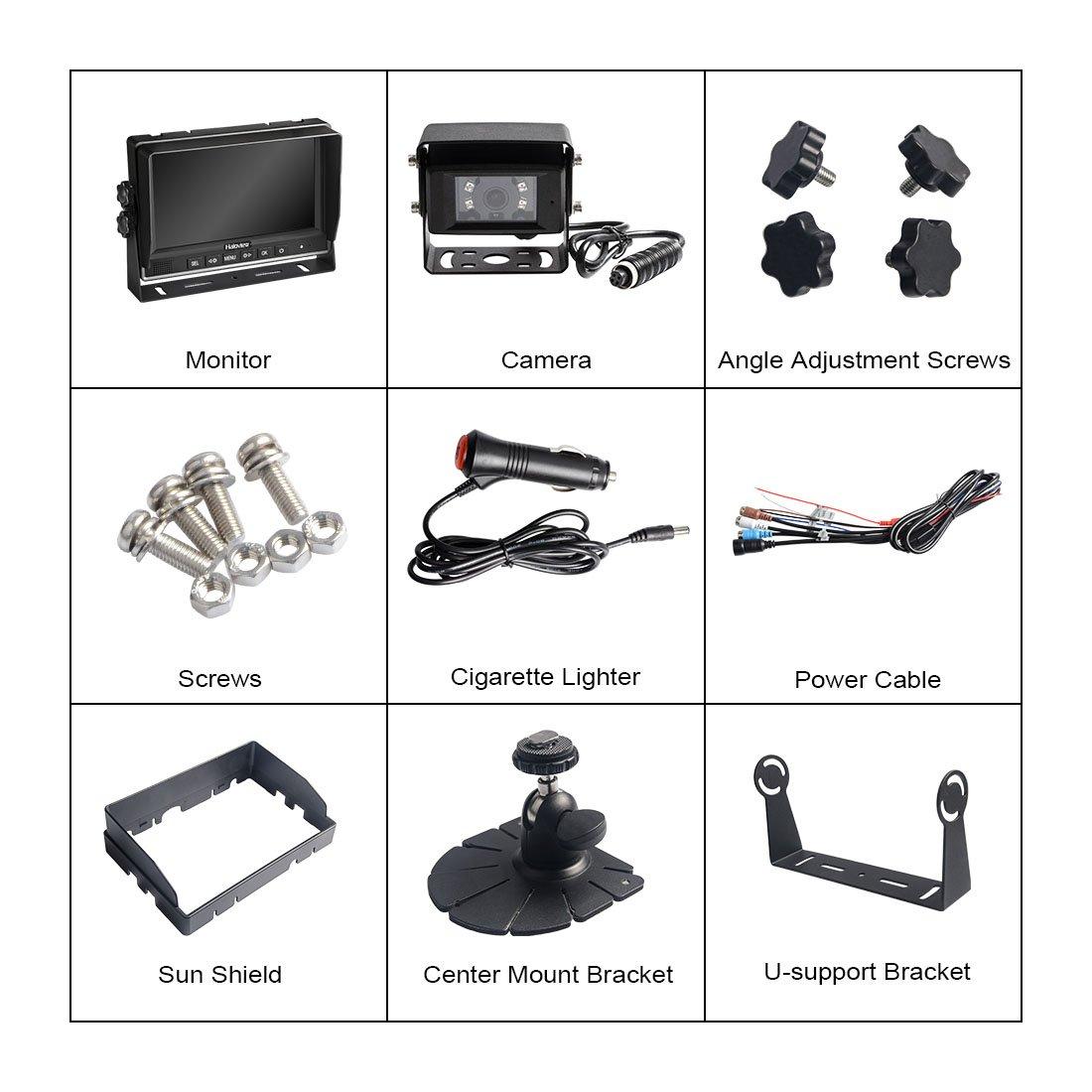 MC7601 Haloview MC7601 Backup Camera System Kit 7 LCD Reversing Monitor and IP69K Waterproof Rear View Camera for Truck//Trailer//Bus//RV//Pickups//Camper//Van//Farm Machine Car Wolfwhoop 5558990295