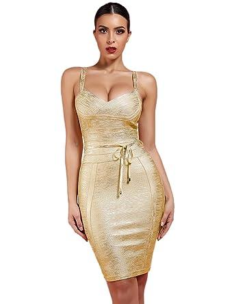 07640f6422b0 Whoinshop Women  s Spaghetti Strap Belt Detail Bandage Bodycon Foil Club  Party Dress Gold XS