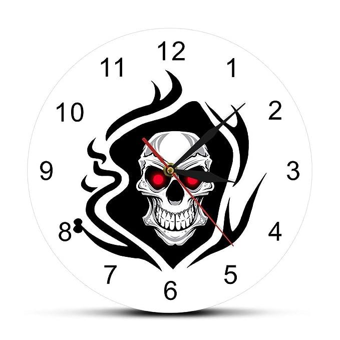 YOUTHLIKEWATER Reloj de Pared Cráneo Tatuado Rosas Reloj de Pared ...
