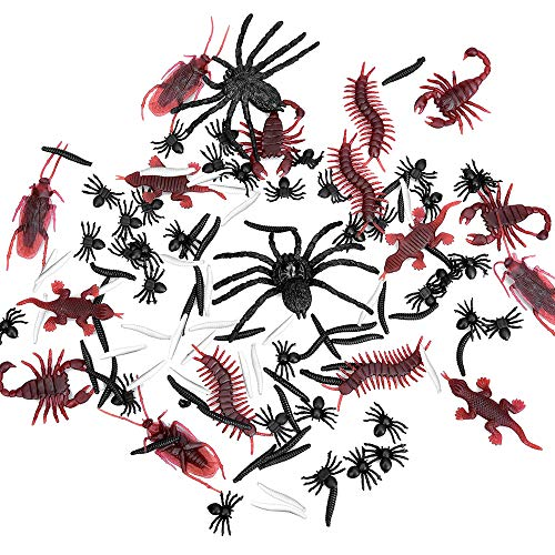 Price comparison product image Halloween Plastic Realistic Bugs - 120 pieces Halloween Assorted Insects Fake Cockroaches, Spiders, Worms, Scorpions, Centipedes, Geckos for Halloween Decorations and Party Plastic Bug Toys Figures for Halloween Prop