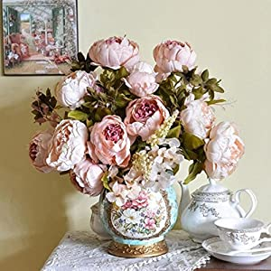 Amiley® 1Bouquet of 8 Heads Artificial Peony Silk Floral Flower Plants Home Office Wedding Bouquet Hydrangea Birthday Party Decor (Pink) 31