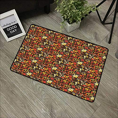 Bathroom mat W35 x L59 INCH Geometric,Futuristic and Retro Mix in Earthen Toned Classic Ellipse Curves Abstract Concept,Multicolor Natural dye printing to protect your baby's skin Non-slip Door Mat Ca