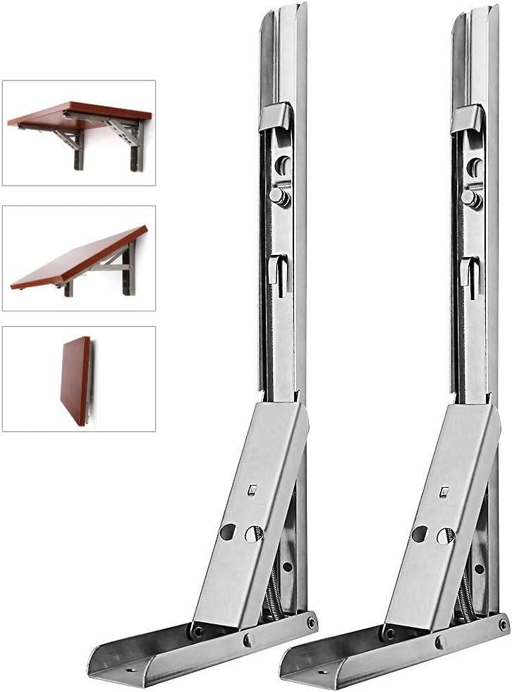 Soporte de estante plegable de acero inoxidable de 35,56 cm para montaje en pared de alta resistencia con brazo de liberación larga para estante, mesa, silla, 2 unidades (35 cm, plata)