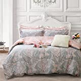 Brandream Blush Pink Bedding Sets Queen Size Girls Flower Bedding 100% Cotton Duvet Cover Set 3-Piece(Comforter not Included)