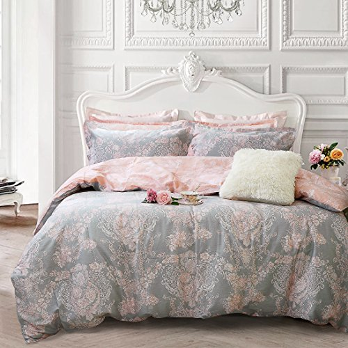 Brandream Blush Pink Bedding Sets Damask Floral Bedding 100% Cotton Duvet Cover Set 3-Piece King Size(Comforter not Included)]()