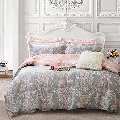 Brandream Blush Pink Bedding Sets Queen Size Girls Damask Flower Bedding 100% Cotton Duvet Cover Set 3-Piece(Comforter not Included) (Pink And Grey Comforter Set Queen)