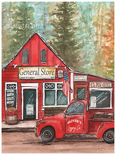Vintage Red Truck Boy's Woodland Lumberjack Nursery Decor Personalized Print OR Thick Wrapped Canvas, 5x7 to 24x36