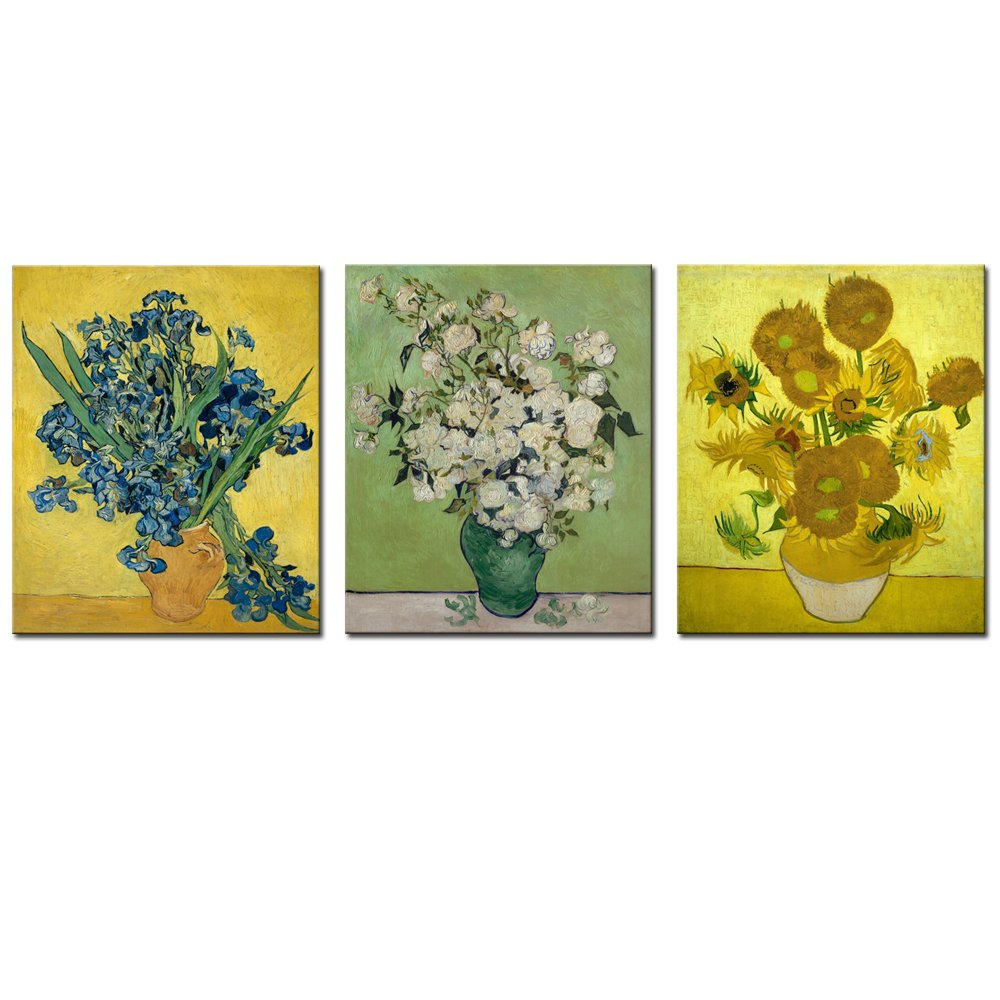 Vincent Van Gogh Art Reproduction,3 Panels Irises and Sunflowers Giclee Canvas Prints Flowers Pictures on Canvas Wall Art Work Ready to Hang for Home Office Decorations Ltd YC2146 20x24x3pcs Sea Charm Sea Charm Trading Co